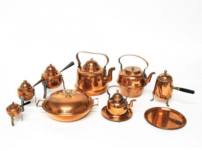 2: A COLLECTION OF NINE COPPER PIECES