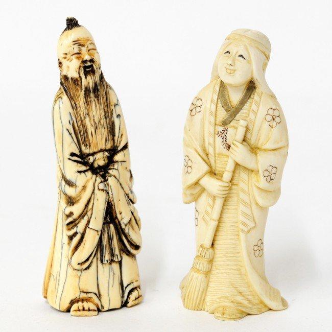 10: A PAIR OF CARVED IVORY OKIMONOS China