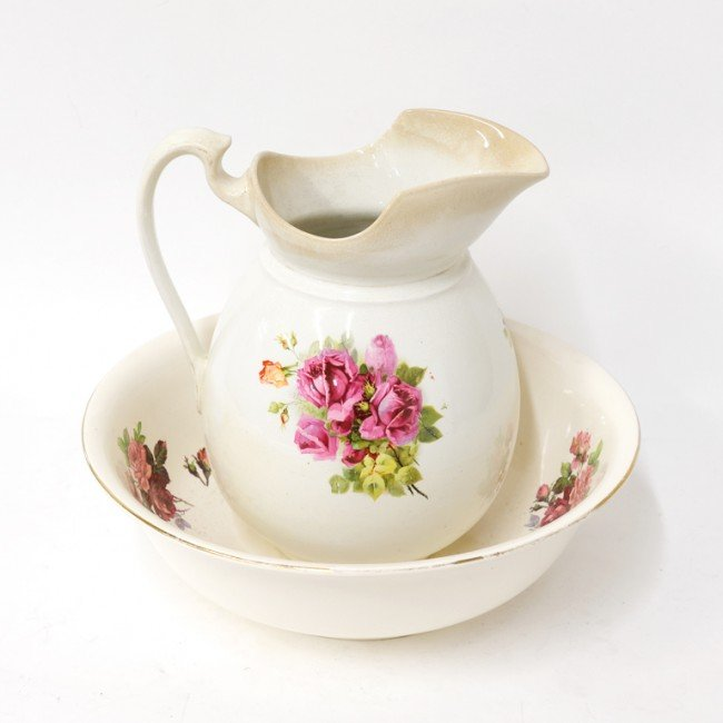 3: A FLORAL PAINTED WASH BASIN AND LARGE PITCHER