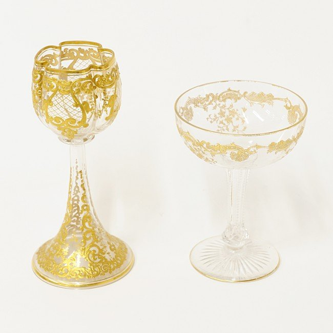 4: A MOSER GOBLET WITH CHAMPAGNE SAUCER