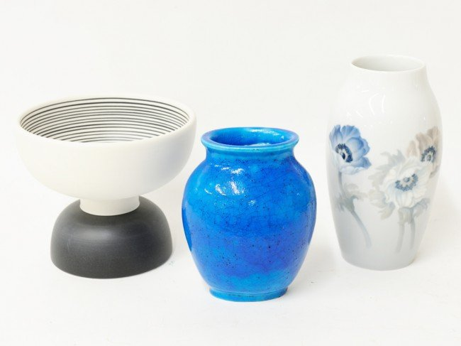 8: A B & G VASE, A LACHENAL VASE AND SCOTTSASS COMPOTE