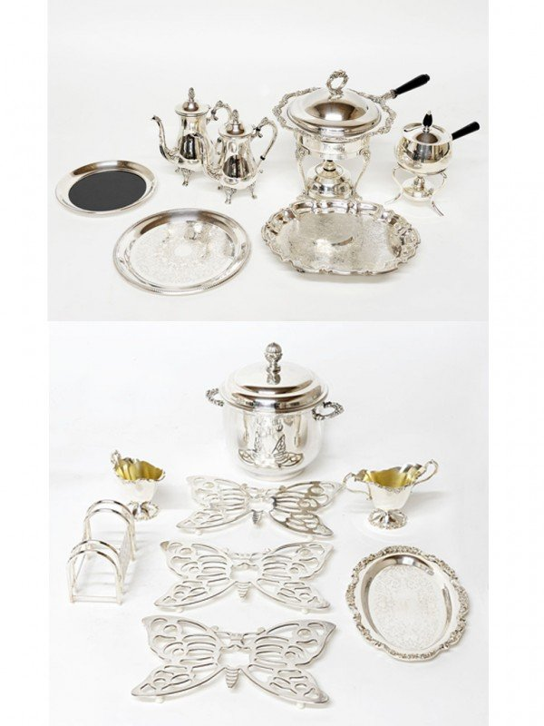 15: A MISCELLANEOUS LOT OF FIFTEEN SILVERPLATE PIECES