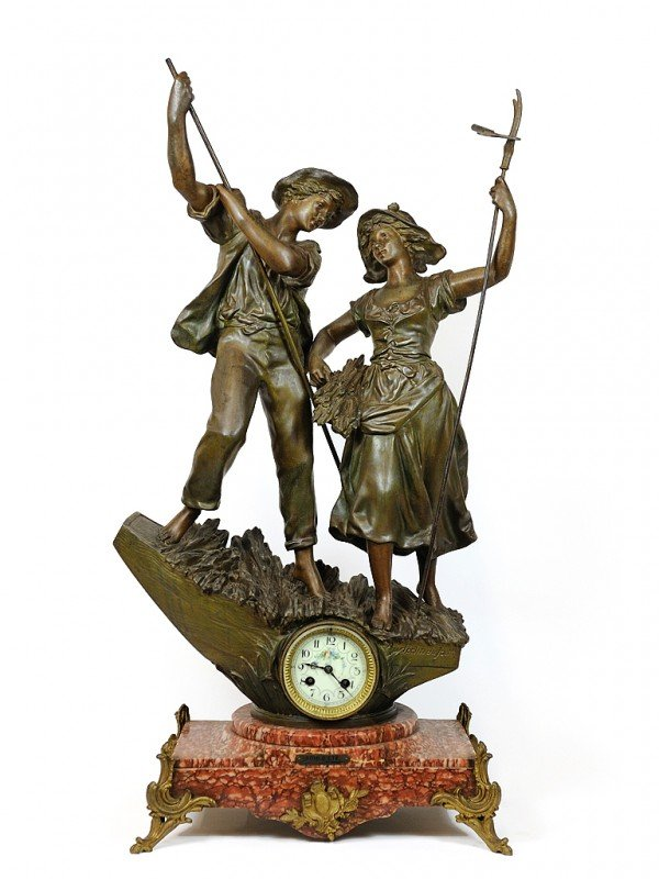 1: A FRENCH FIGURAL BRONZE MANTEL CLOCK France