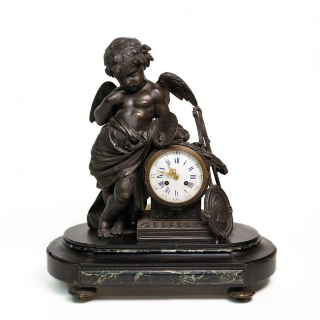 2: A MARBLE AND BRONZE FIGURAL MANTEL CLOCK France