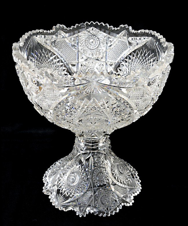 5: AN OPULENT BRILLIANT CUT GLASS PUNCH BOWL ONSTANDARD