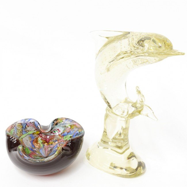4: A COUPLE OF VENETIAN GLASS ITEMS; ASHTRAY AND SWIMMI