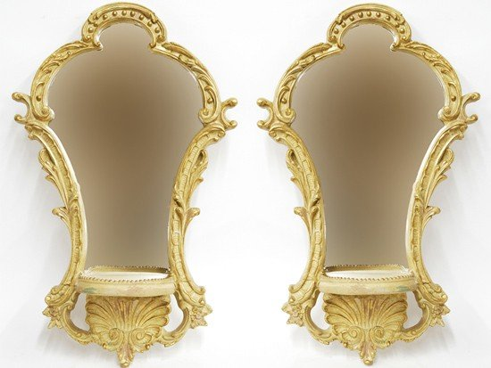 8: A PAIR OF MIRRORED WALL BRACKETS