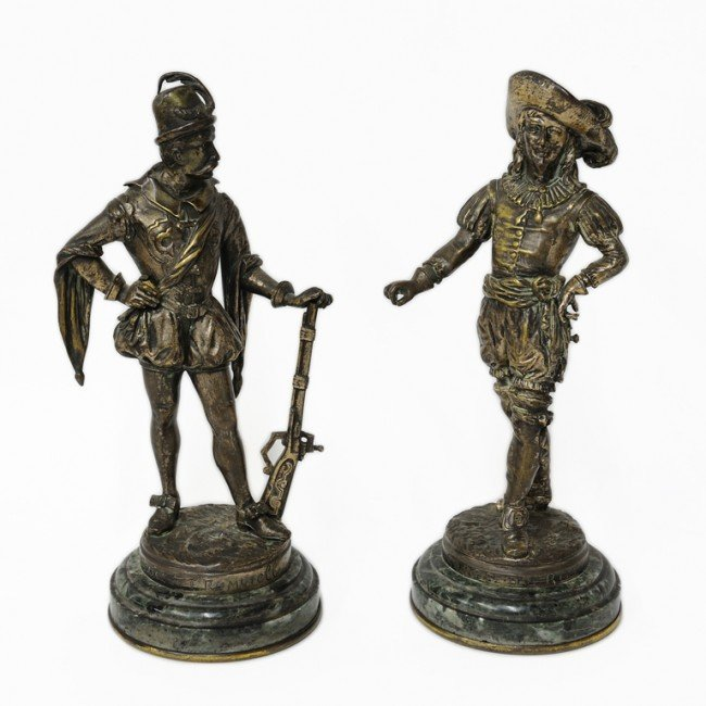 11: A PAIR OF FRENCH BRONZE SCULPTURES, SIGNED BRISSON;