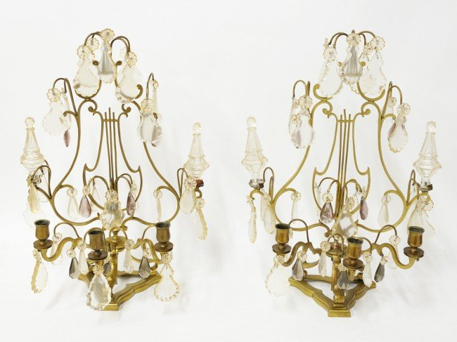 15: A PAIR OF THREE LIGHT BRONZE AND CRYSTAL CANDELABRA