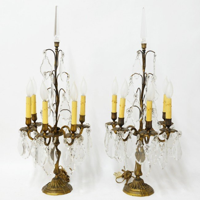 24: A PAIR OF CRYSTAL AND BRONZE GIRONDOLE