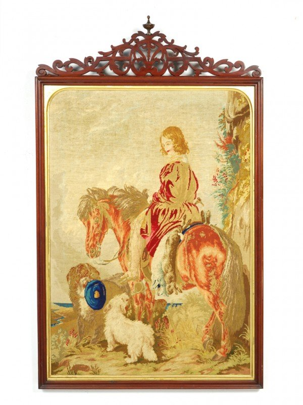5: A FRENCH MAHOGANY SILK AND WOOL GROSS POINT TAPESTRY