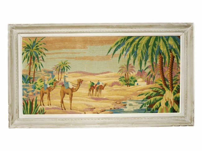 8: A FRAMED ORIENTALIST MACHINE MADE TAPESTRY
