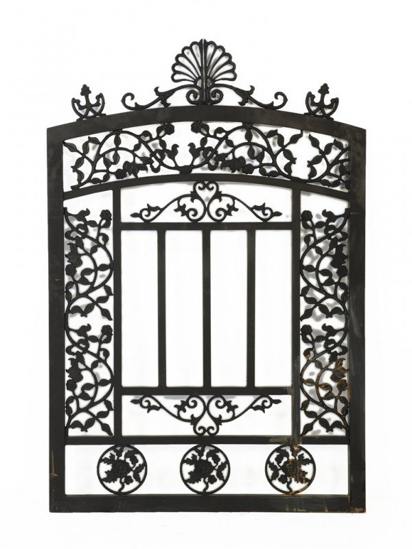 14: A CUSTOM CAST IRON ARCHED GARDEN GATE