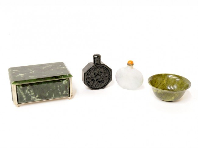 17: A GROUP OF FOUR CHINESE JADE ITEMS