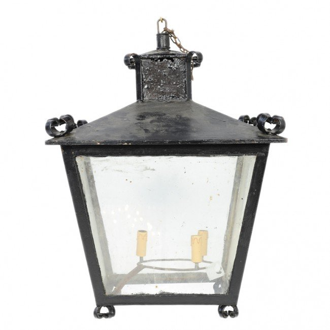 23: A HEAVY ENGLISH PAINTED IRON AND GLASS LANTERN