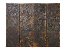 386 A VICTORIAN HANDPAINTED FOUR PANEL LEATHER SCREEN