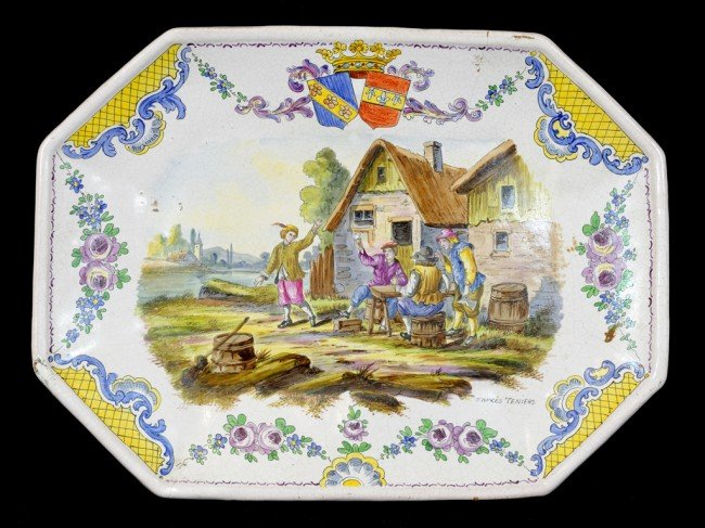 1: A SHAPED RECTANGULAR FAIENCE POTTERY MEAT PLATE, Pro