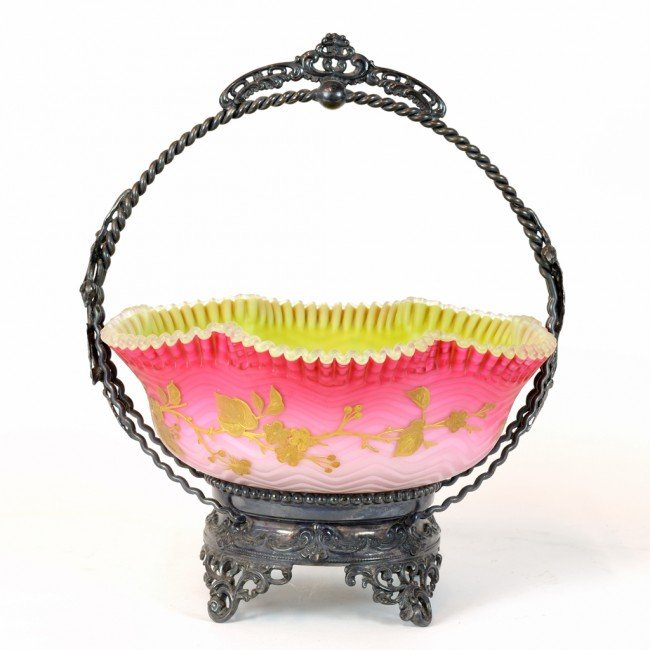 5: AN AMERICAN SILVERPLATE BRIDE'S BASKET WITH RUFFLED