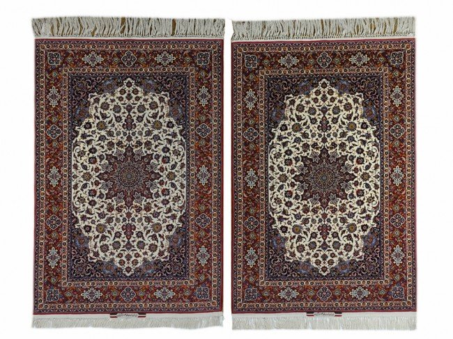 132: A PAIR OF SEMI ANTIQUE PERSIAN MASTERPIECE ESFAHAN