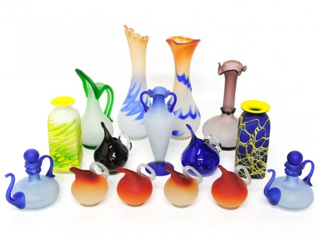 5: A GROUP OF TURKISH HAND BLOWN GLASS VASES & PITCHERS