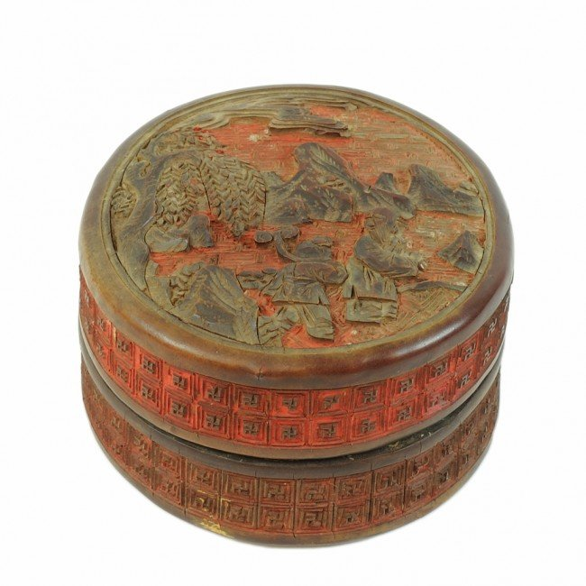 12: A FINE SMALL CIRCULAR CINNABAR BOX WITH LID China,