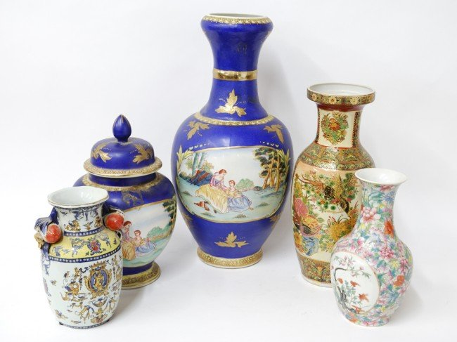 17: A GROUP OF FIVE CHINESE VASES AND URNS