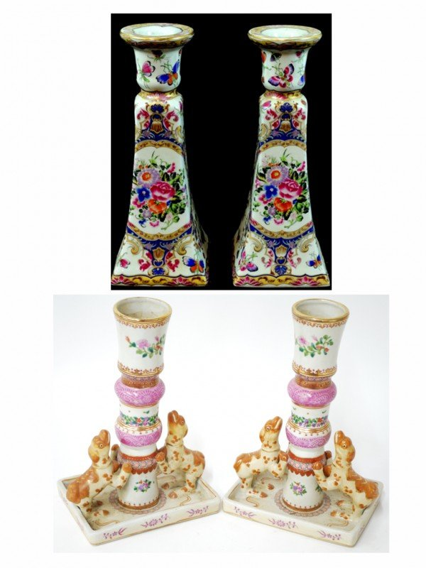 18: TWO PAIRS OF HAND PAINTED PORCELAIN CANDLESTICKS