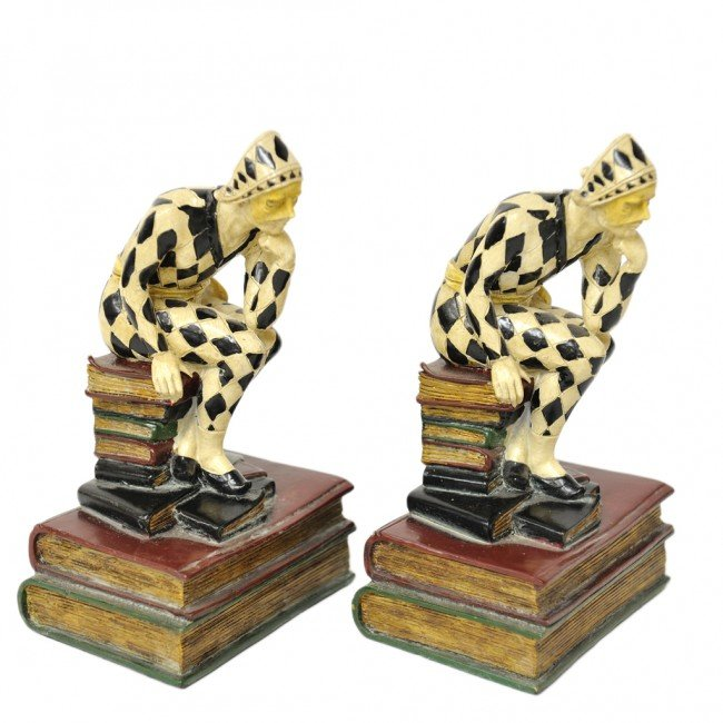 1: A PAIR OF PAINTED BOOKENDS