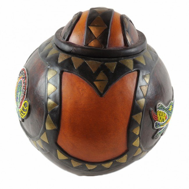 1A: A CARVED, PAINTED AND BEADED GOURD, Probably Austra