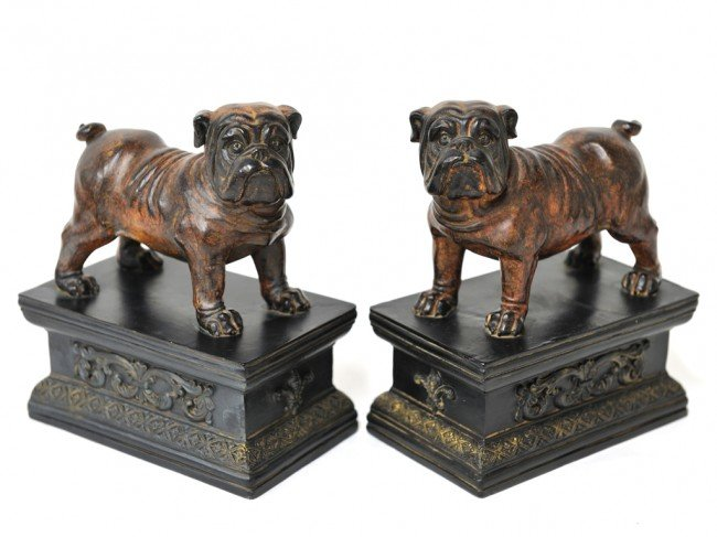 3: A PAIR OF PAINTED BOOKENDS