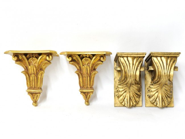 4: TWO PAIRS OF PAINTED WALL SCONCES