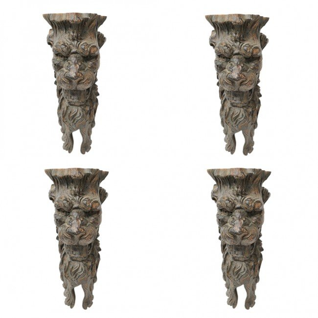 5: A SET OF FOUR PAINTED WALL SCONCES