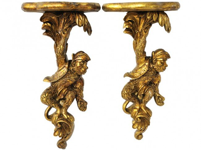 7: A PAIR OF GILT PAINTED WALL SCONCES CARVED AS MONKEY