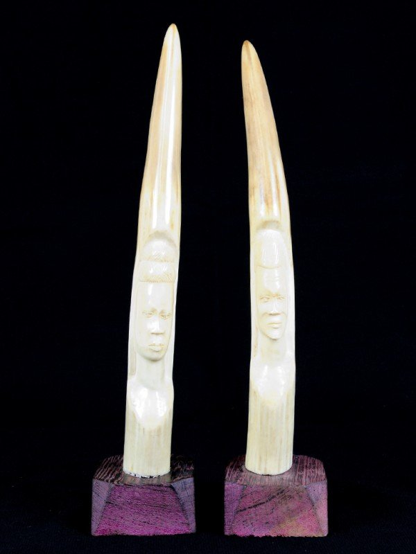 18: A PAIR OF CARVED IVORY TUSKS, African