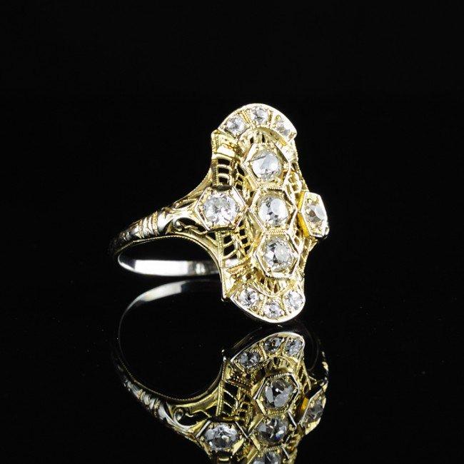 9: 18KT ART DECO ERA FILLIGREE DIAMOND RING