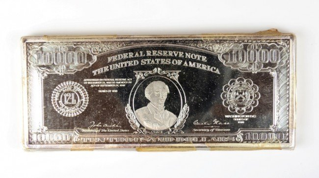 10: ONE TROY POUND OF SILVER - $10,000 FEDERAL RESERVE