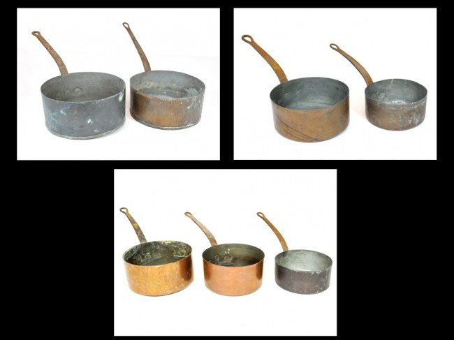 5: A GROUP OF SEVEN FRENCH COPPER POTS