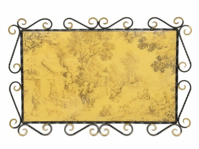 6: A FRENCH IRON AND PAINTED GLASS SERVING TRAY