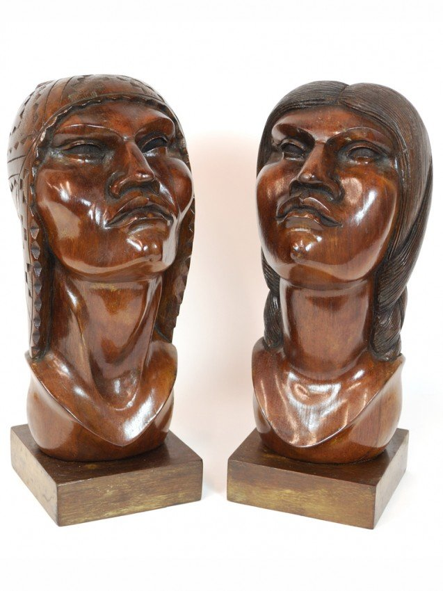 12: A PAIR OF WOOD CARVED NATIVE BUSTS