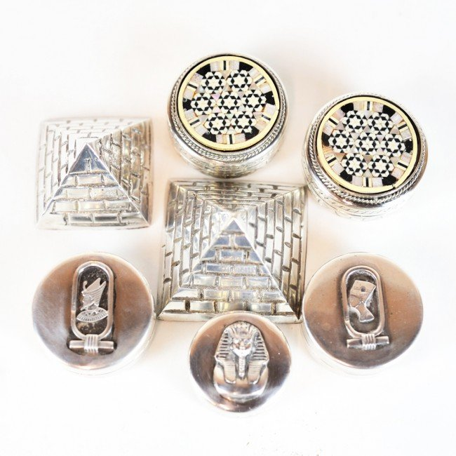 19: GROUP OF FIVE STERLING EGYPTIAN BOXES WITH TWO PYRA