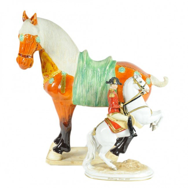 4: TWO CERAMIC AND PORCELAIN HORSES