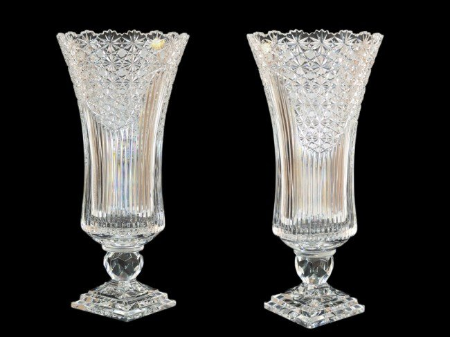 24: A PAIR OF CUT CRYSTAL VASES
