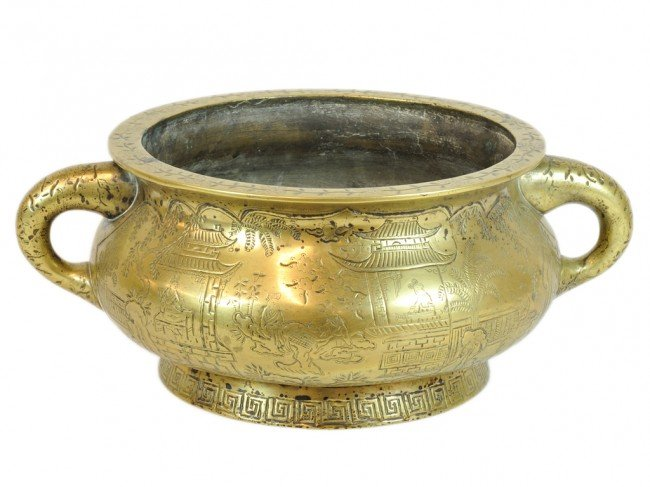 33: A CHINESESOLID BRONZE OPEN CENSER