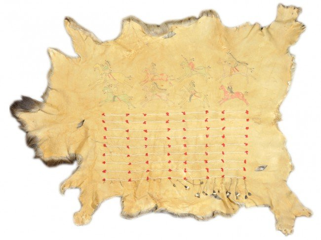 11: A LARGE FUR HIDE WITH UNDERSIDE PAINTED IN NATIVE A