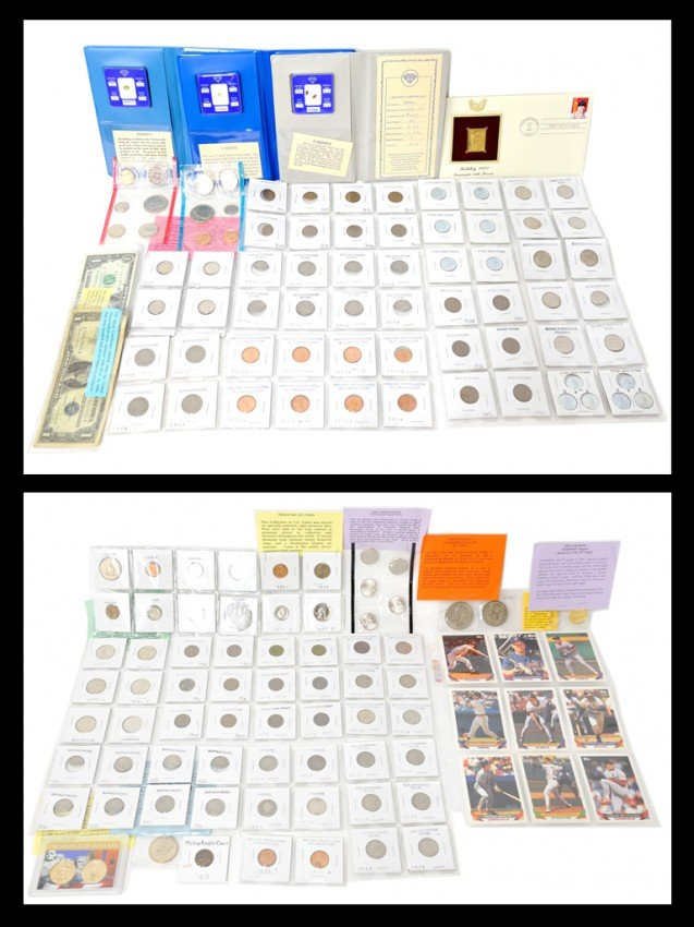 12: A LOT OF MISCELLANEOUS COINS, GEMSTONES AND CARDS