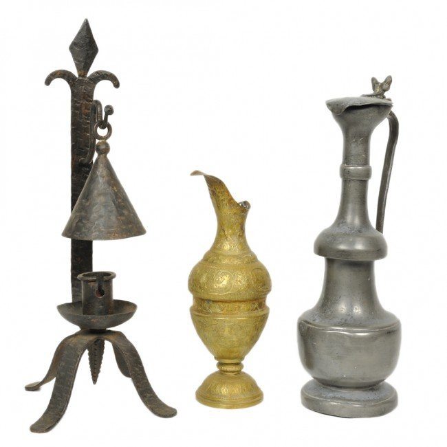 14: A IRON CANDLE HOLDER, A PEWTER PITCHER, A COPPER PI
