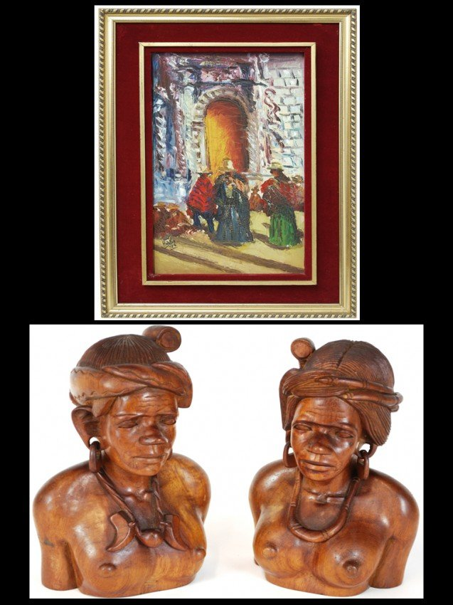 16: A PAIR OF WOOD CARVED FEMALE BUSTS HIDALGO, Untitle