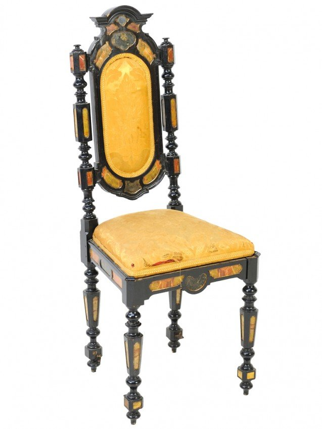 128: AN EBONIZED AND MARBLE INLAID ANTIQUE CHAIR