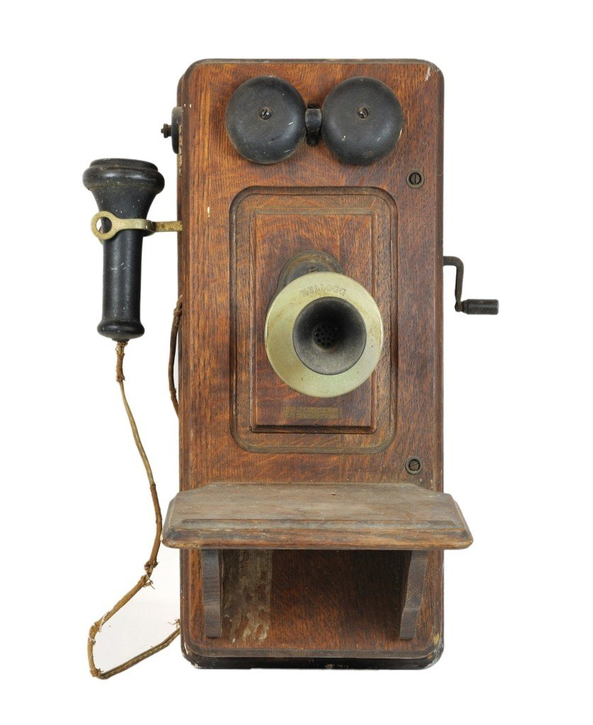 92 An Antique Wooden Crank Wall Phone Telephone Early