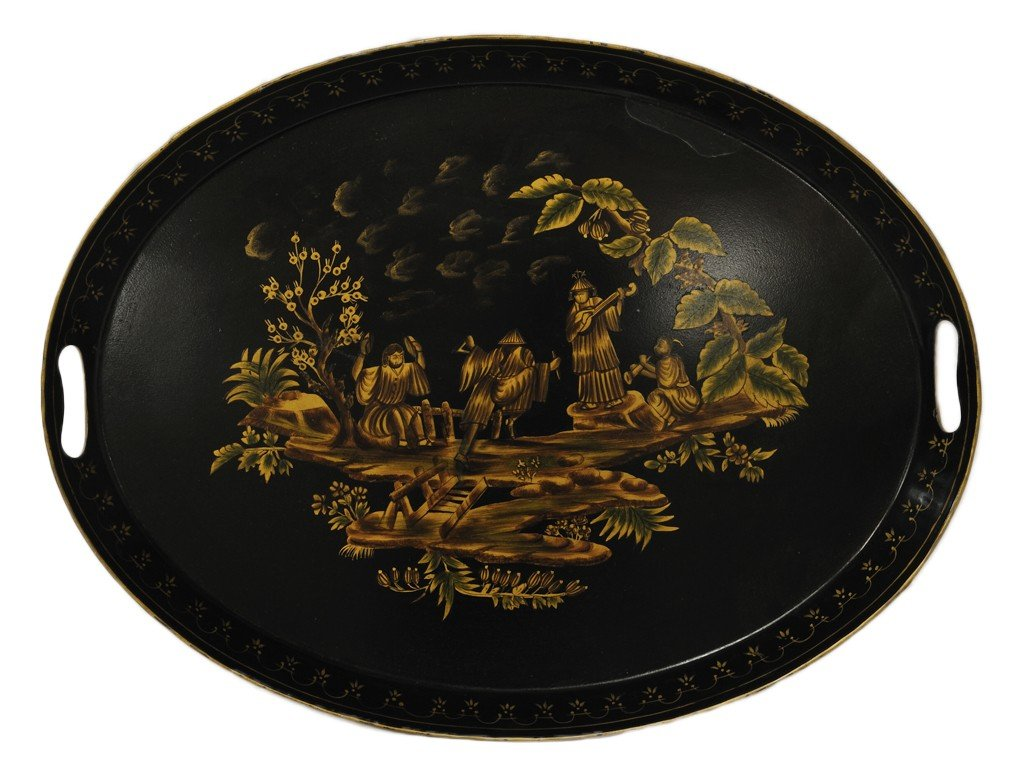 3: A PAINTED BLACK LACQUER TRAY